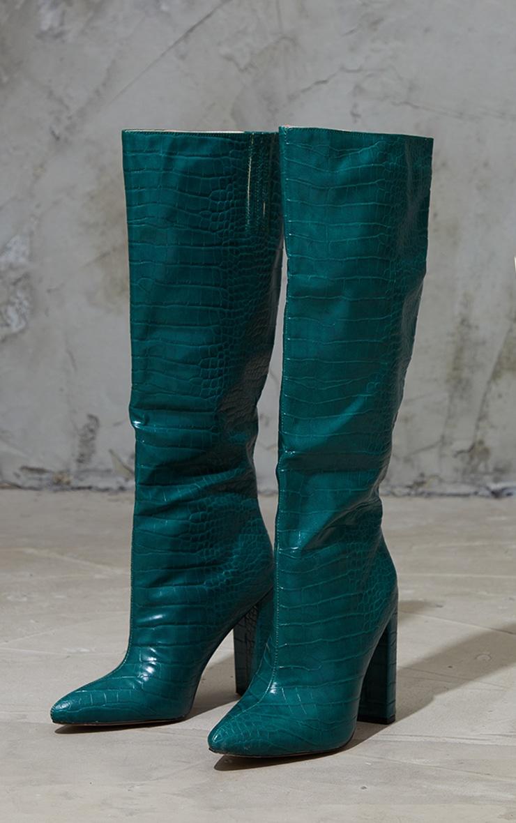 Khaki Knee High Point Block Heel Boot 3