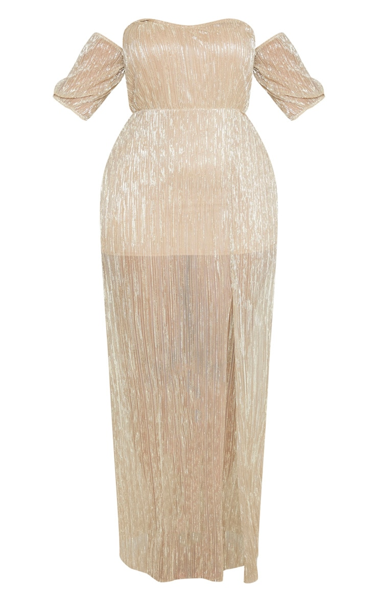 Plus Gold Plisse Bardot Split Detail Maxi Dress 3