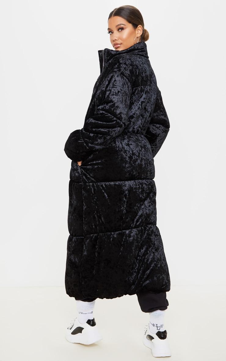 Doudoune longue en velours noir 2