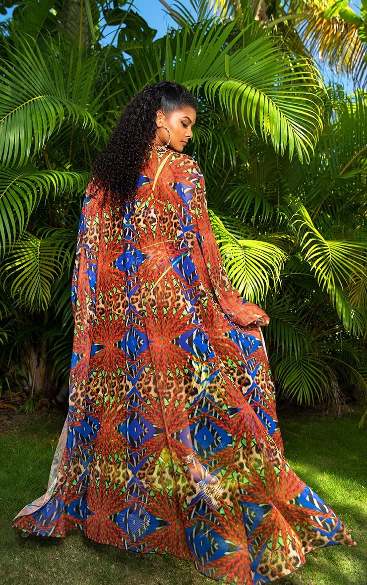 Plus Multi Mixed Jungle Print Mesh Kimono 2