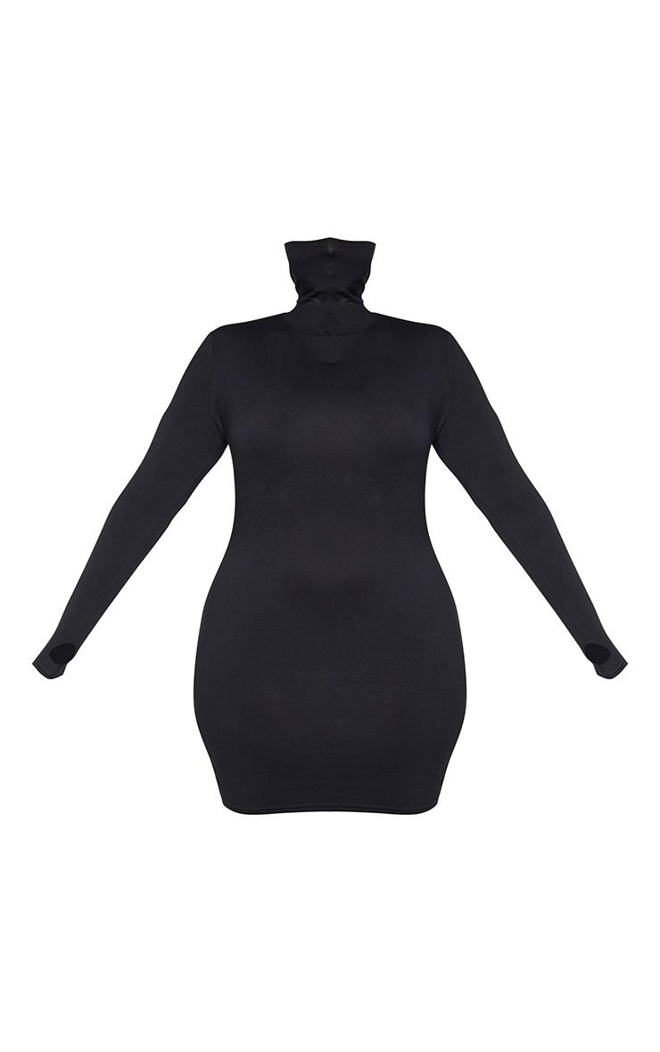 Plus Black Jersey Long Sleeve Mask Bodycon Dress 5
