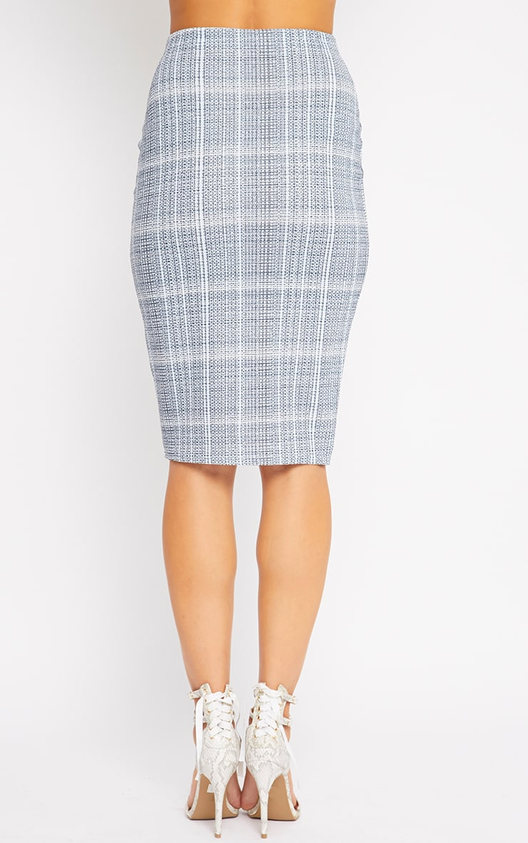 Cleo Blue Checked Midi Skirt 2