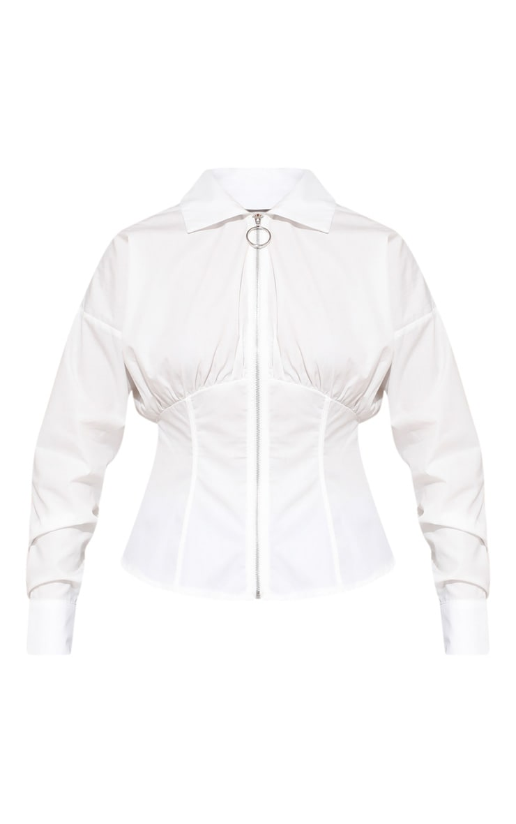 White Zip Corset Detail Shirt 4