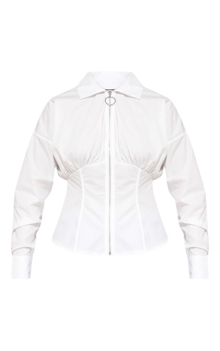 قميص أبيض بتصميم مشد وسحاب 4