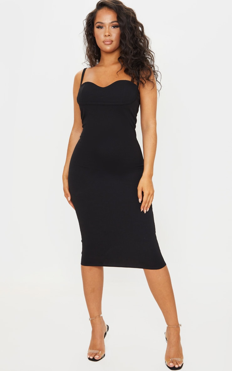 Black Strappy Cup Detail Midi Dress 1