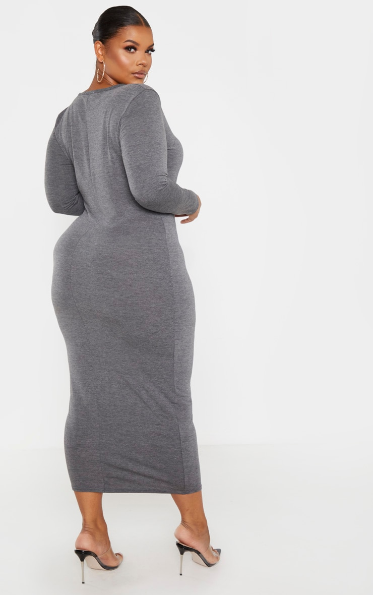 Plus Charcoal Jersey V Neck Long Sleeve Midi Dress 2