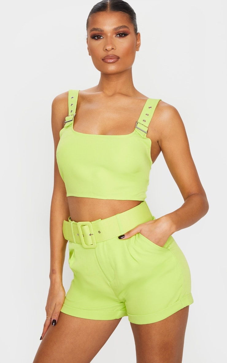 Lime Woven Buckle Strap Crop Top 2