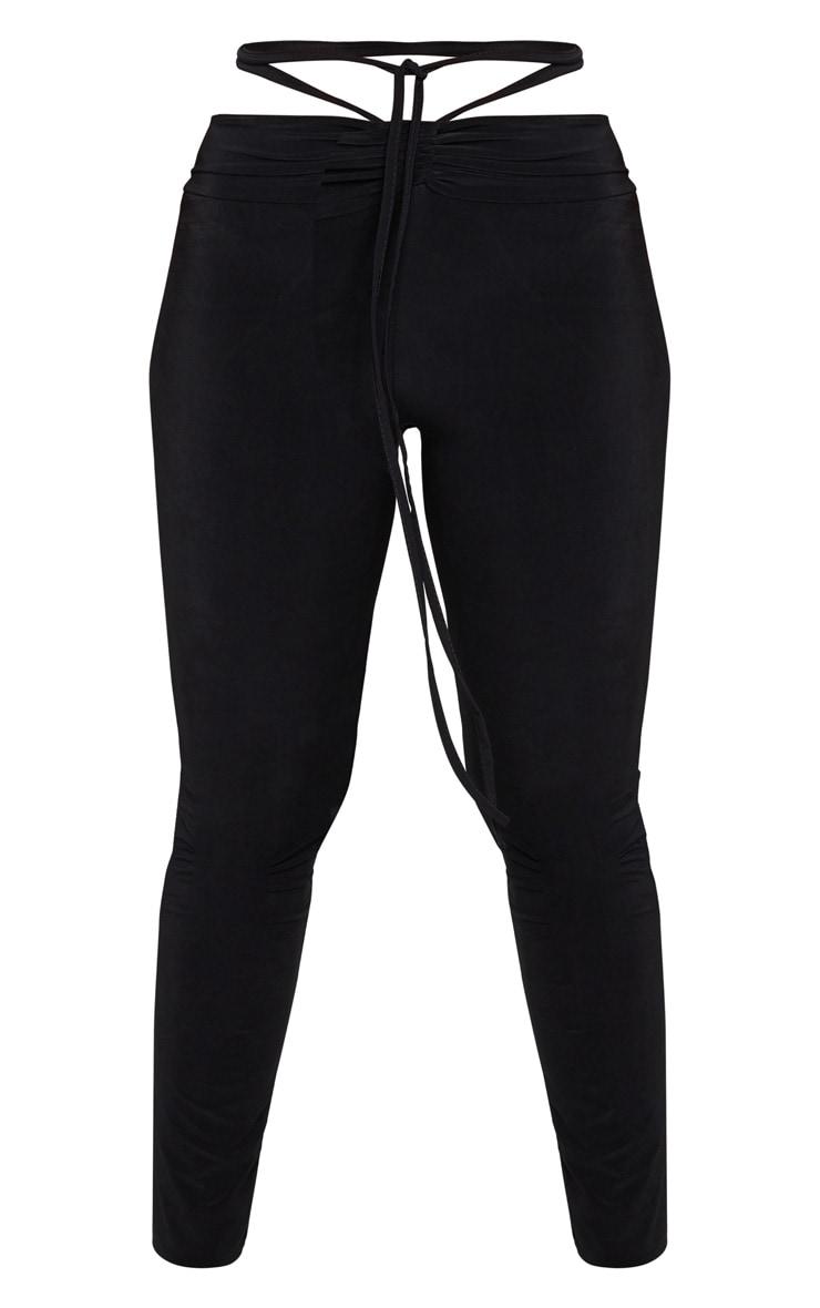 Black Slinky Ruched Waist Skinny Pants 5