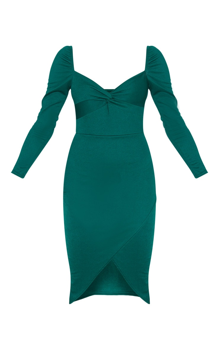 Emerald Green Twist Front Long Sleeve Wrap Midi Dress 3