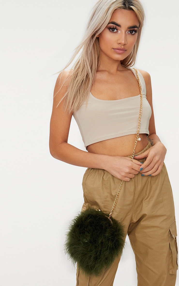 Khaki Marabou Feather Circle Clutch Bag 1