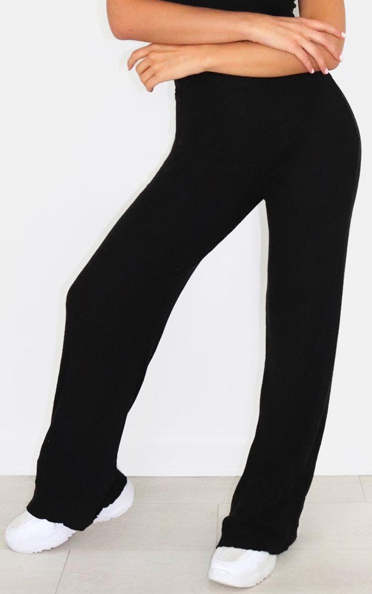 Black Brushed Rib Frill Hem Wide Leg Trousers 2