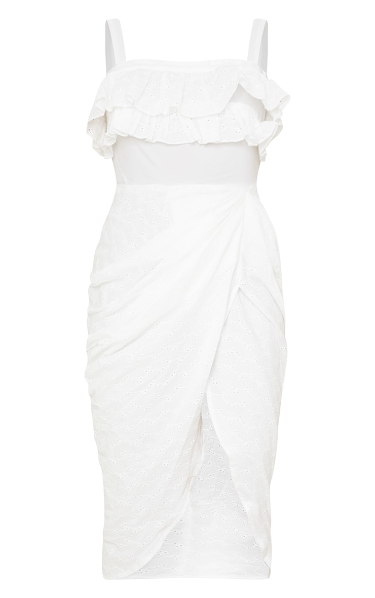 White Broderie Anglaise Strappy Frill Draped Midi Dress 5