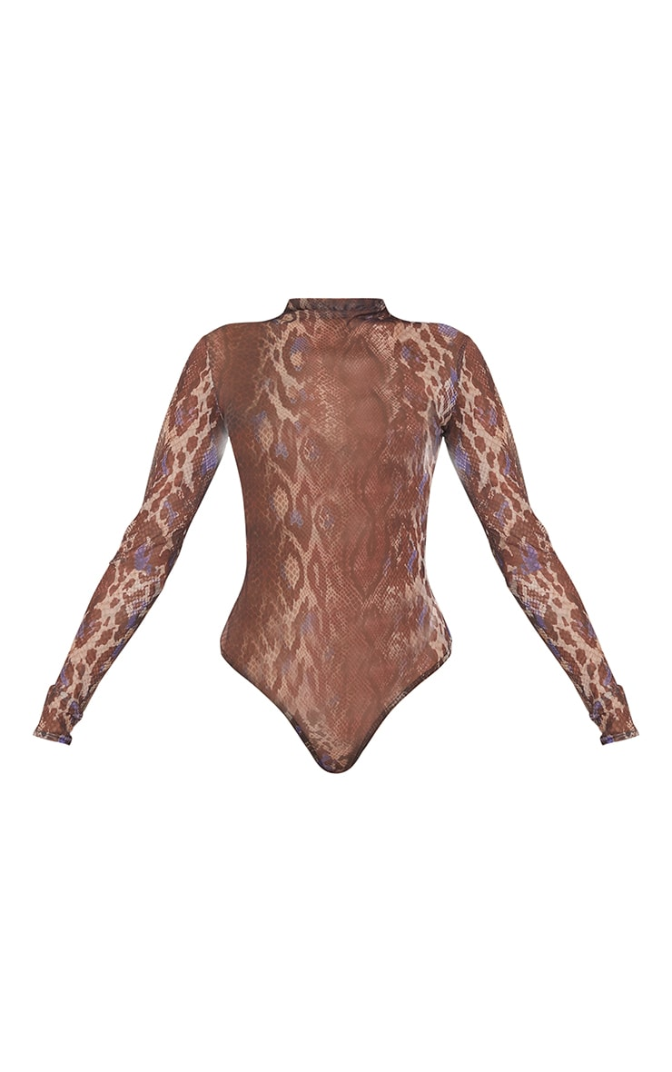Purple Snakeskin Printed Sheer Mesh High Neck Long Sleeve Bodysuit 5