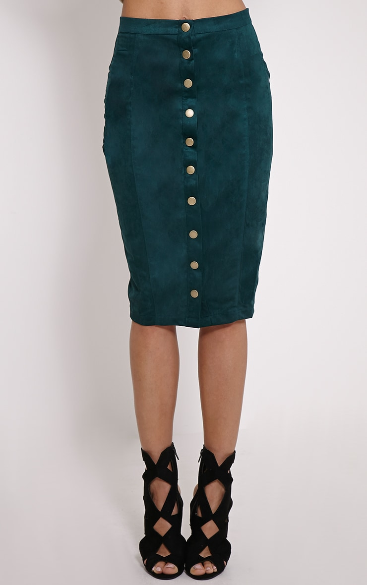 Meemee Green Button Front Suede Midi Skirt 2