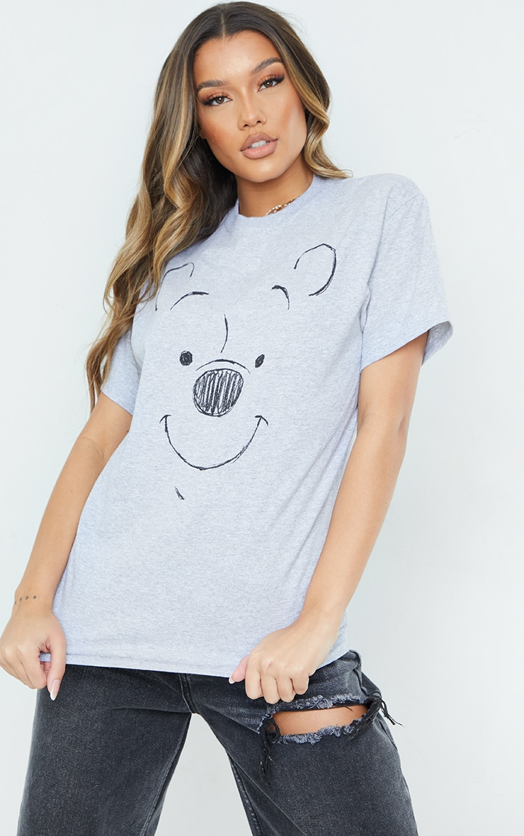 Grey Disney Winnie The Pooh Drawing Printed T Shirt 1