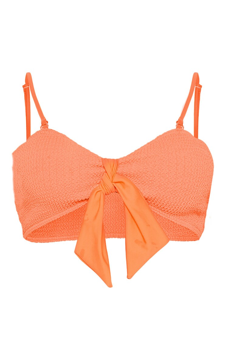 Coral Crinkle Bow Bikini Top 5