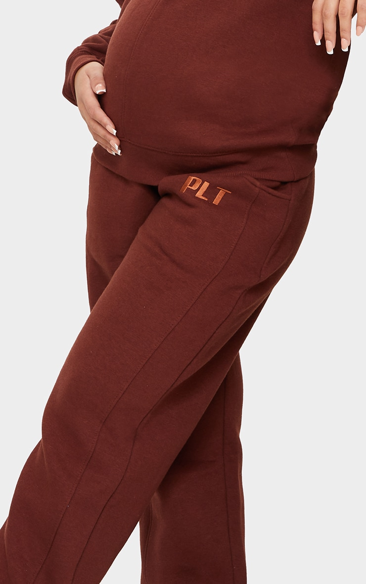 PRETTYLITTLETHING Maternity Brown Embroidered Joggers 4