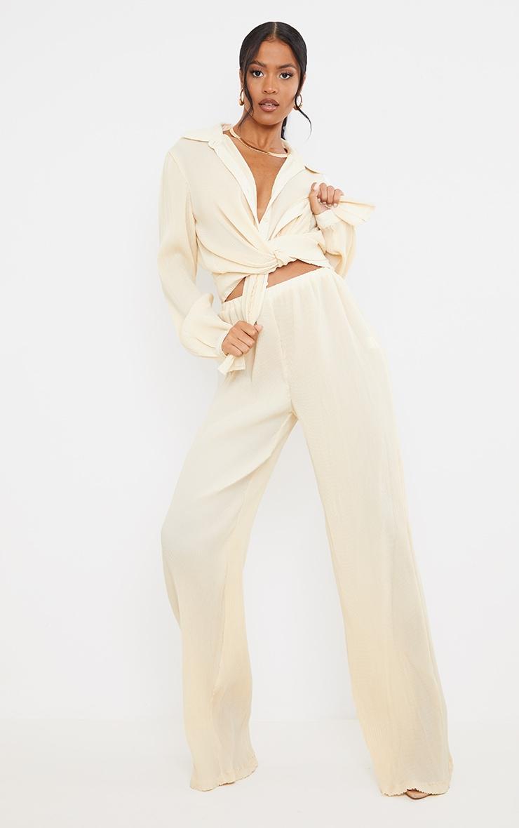 Tall  Cream Plisse Highwaisted Wide Leg Trousers 1