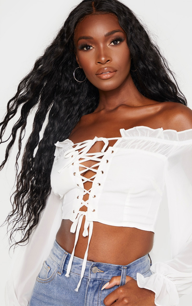 White Cropped Lace Front Long Sleeve Blouse 5