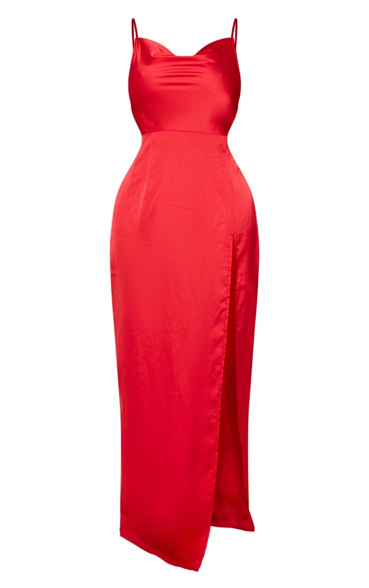 Shape Red Satin Cowl Neck Maxi Dress 6