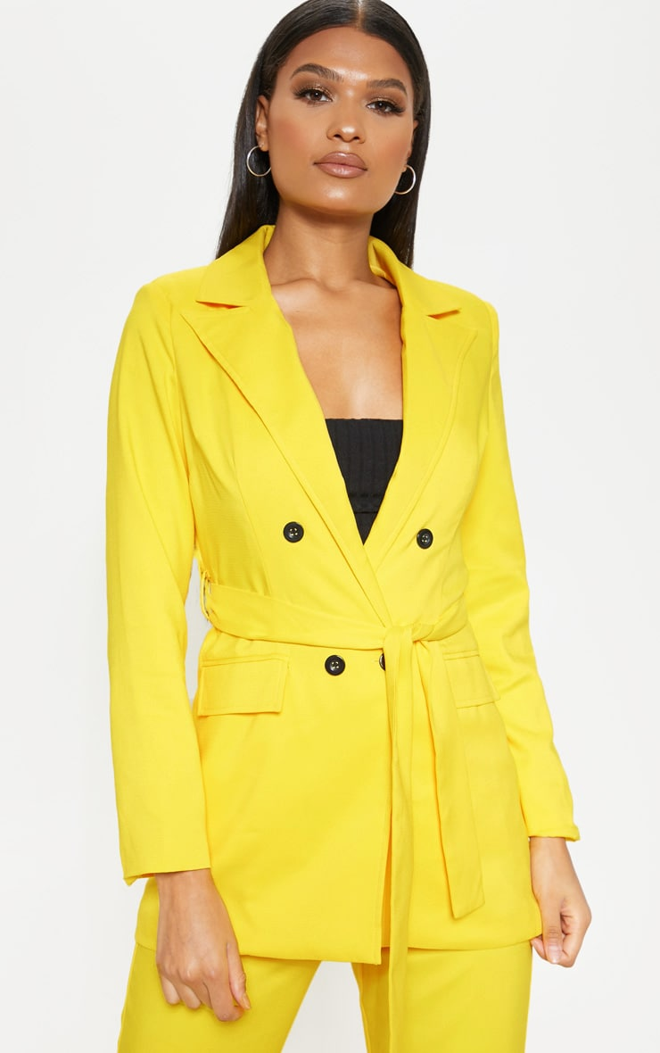 Bright Yellow Belted Long Line Woven Blazer    1