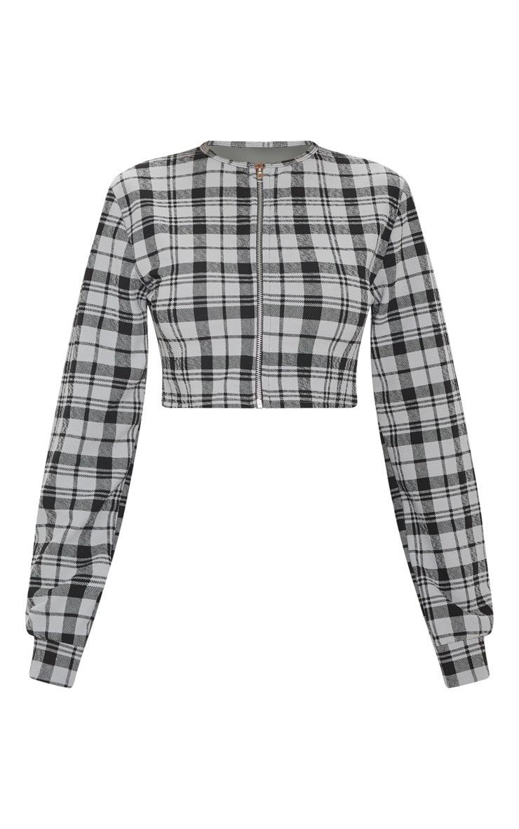 Grey Long Sleeve Zip Printed Check Top 3