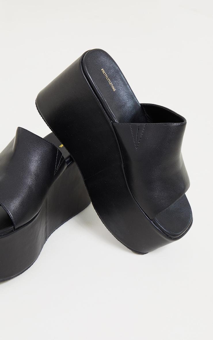 Black PU Square Toe Platform Mules 4