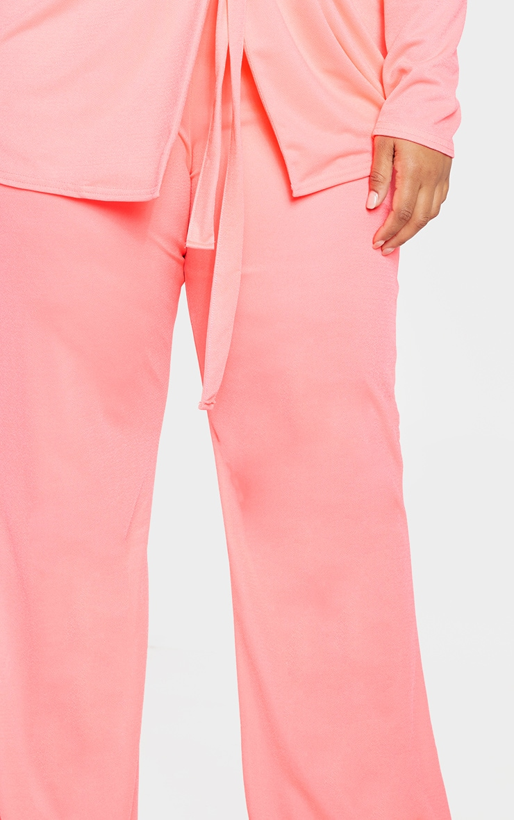 Plus Neon Pink Wide Leg Trouser  5