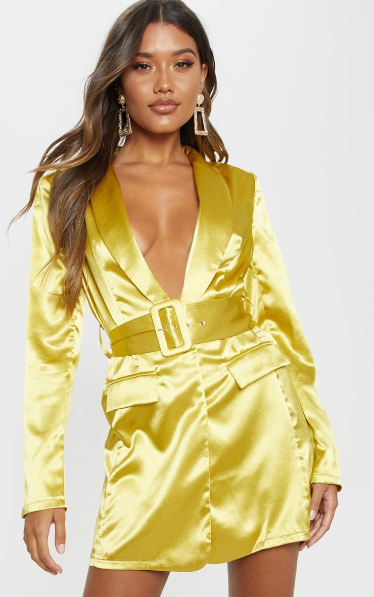 Chartreuse Satin Belted Blazer Dress 1