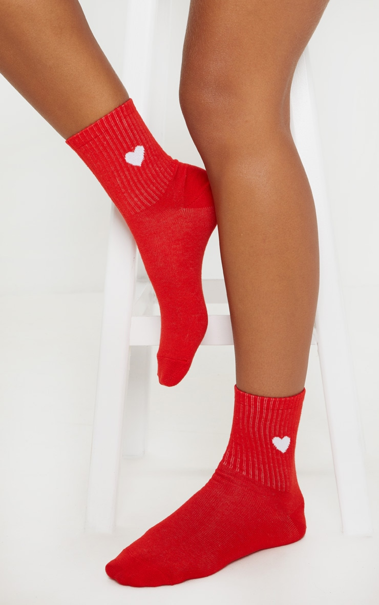 Red Heart Knitted Socks  by Prettylittlething