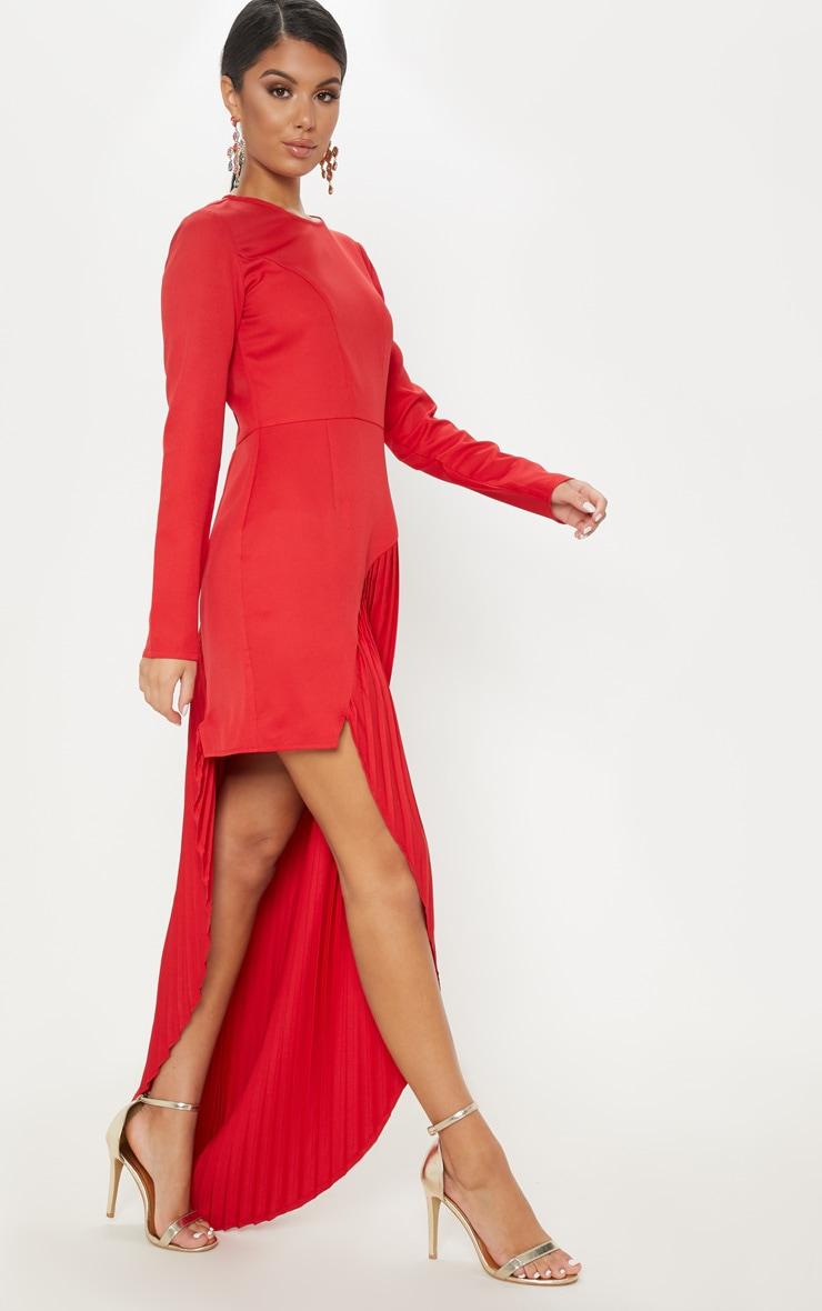 Red Pleated Asymmetric Hem Maxi Dress 4