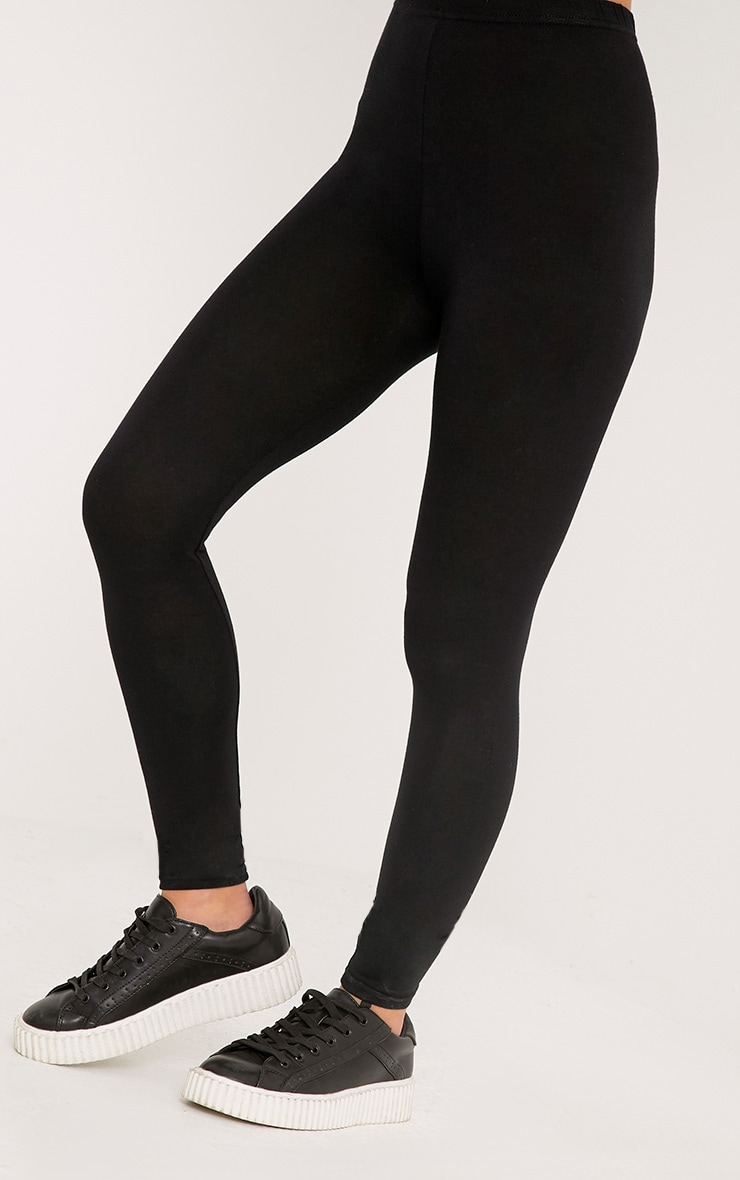 Petite Clarinda Black Basic Leggings 5