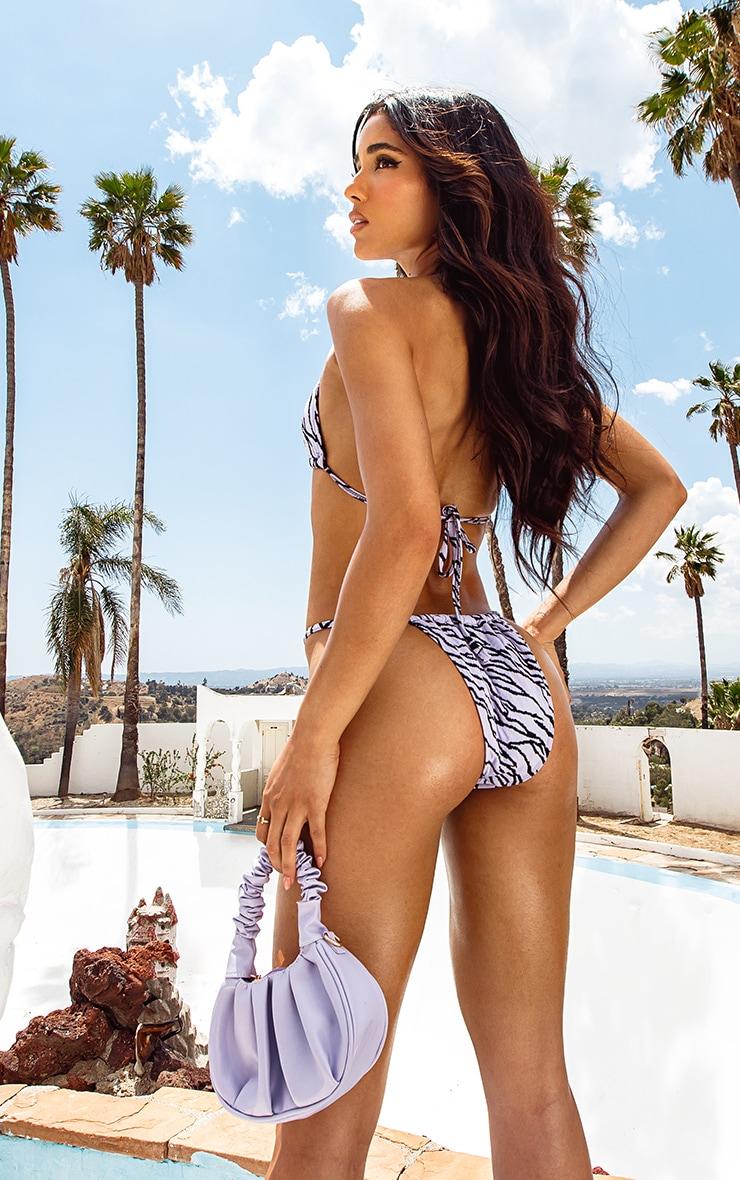 Lilac Zebra Texture Mini Adjustable Tanga Bikini Bottoms