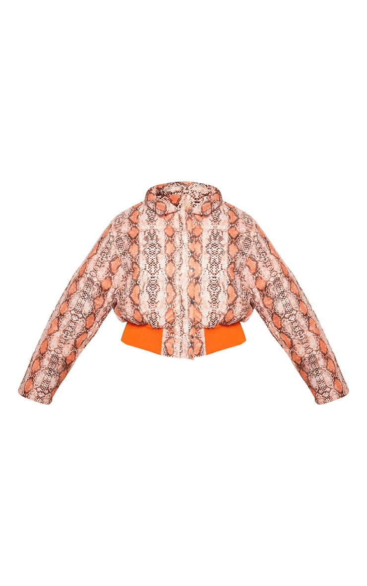 Plus Orange Snake Print Cropped Puffer 4