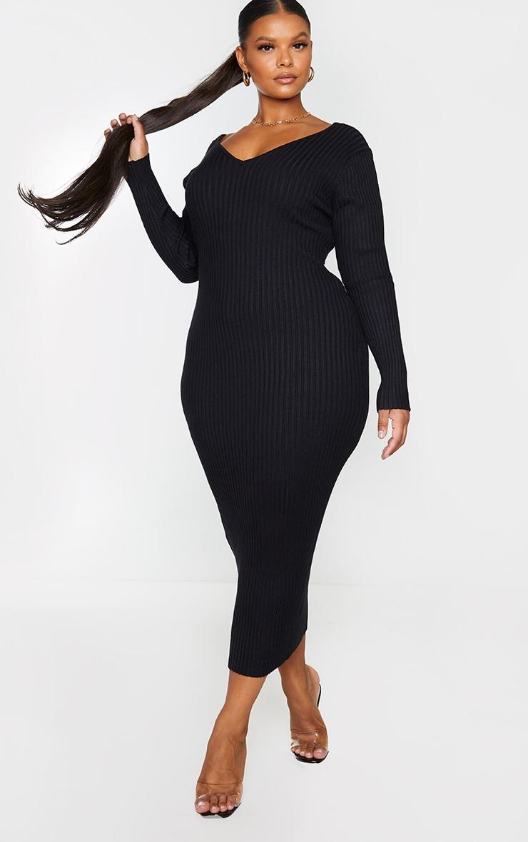 Plus Black Off Shoulder Rib Knitted Midaxi Dress 3