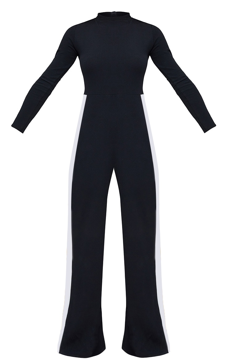 Black High Neck Sports Stripe Jumpsuit 3