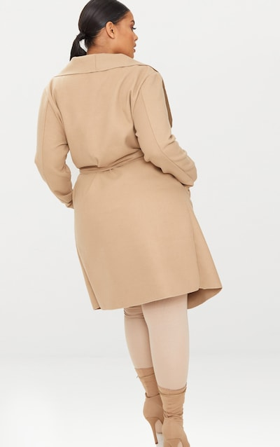 Plus Camel Waterfall Coat