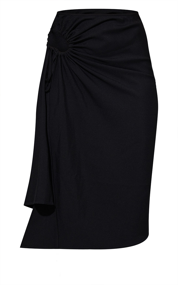 Black Woven Ruched Cut Out Detailing Midi Skirt 5