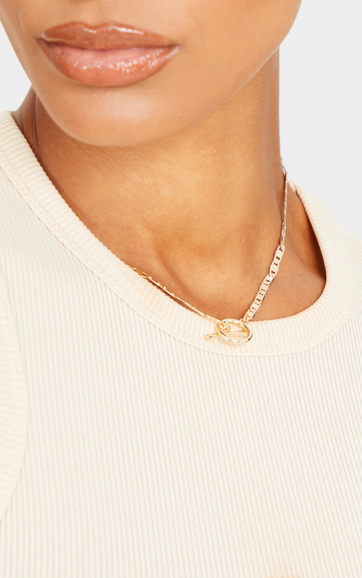 Gold Thin T Bar Chain Necklace 2