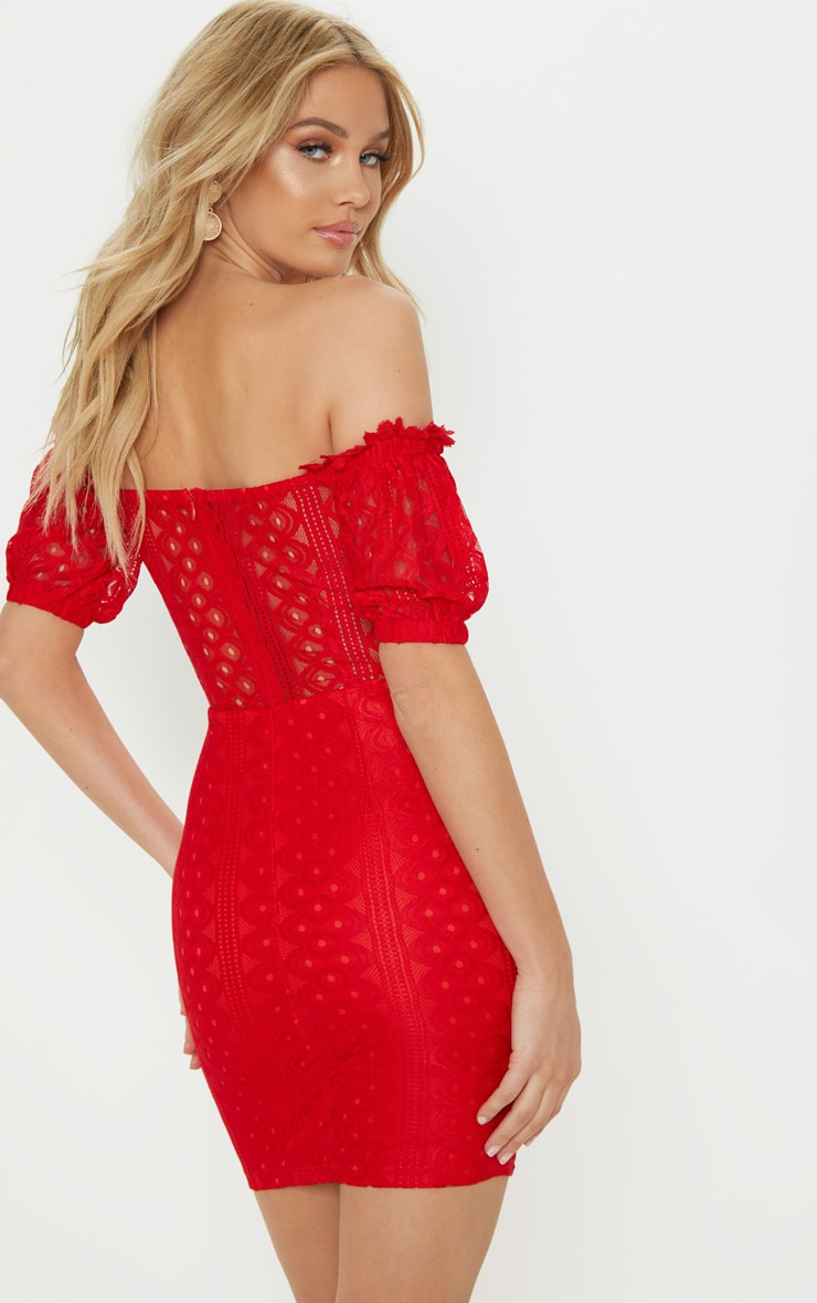 Red Lace Up Bardot Lace Bodycon Dress 2
