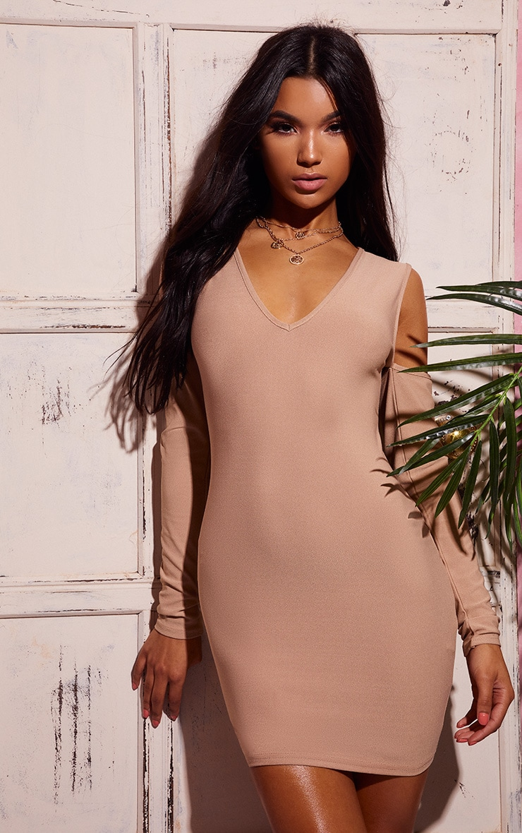 Stone Cold Shoulder Long Sleeve Plunge Bodycon Dress 1