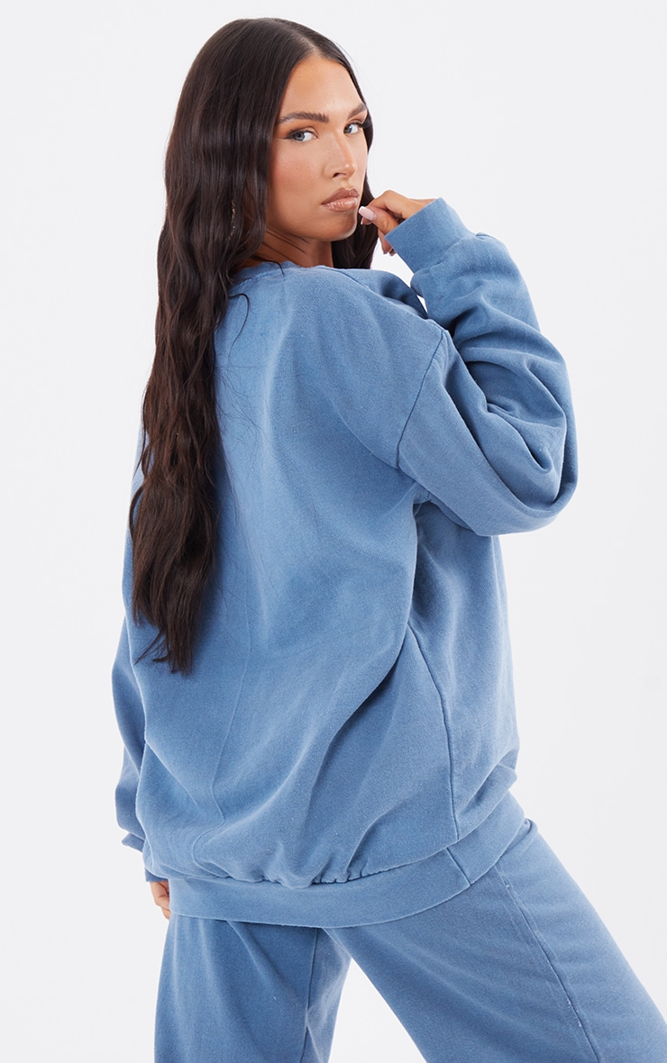 Recycled Mineral Blue Washed Oversized Sweatshirt 2