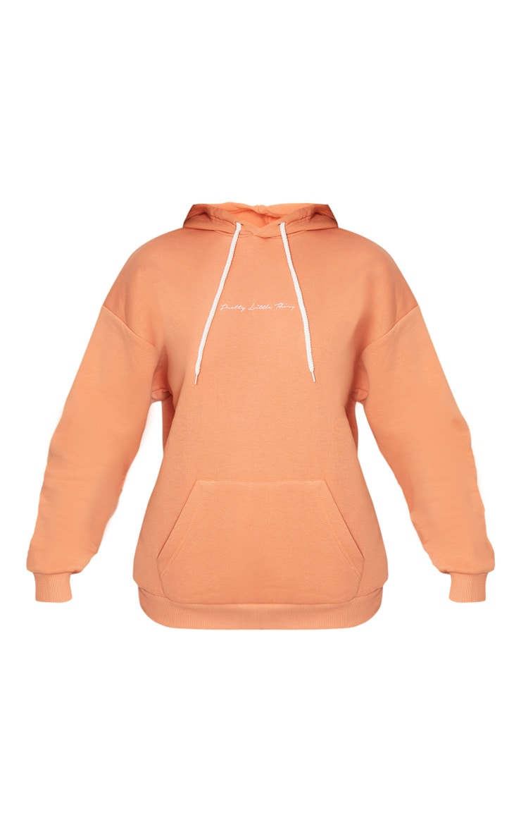 PRETTYLITTLETHING - Hoodie oversize noisette à broderie 3