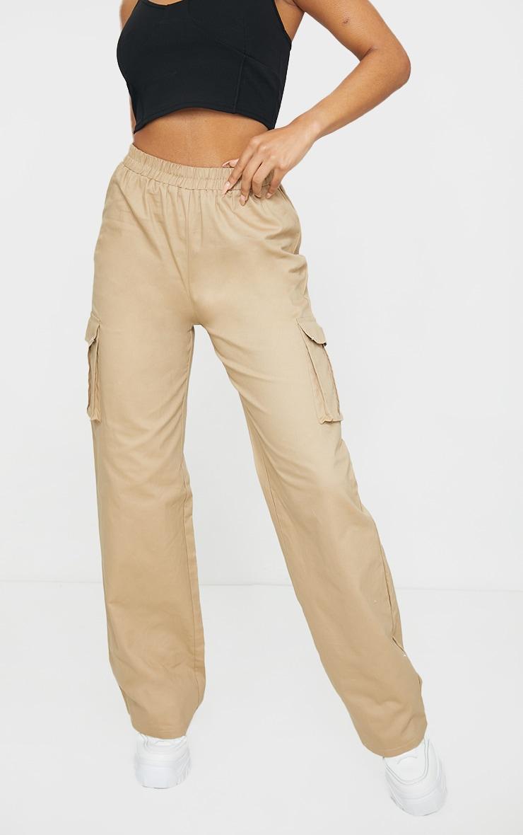 Stone Wide Leg Cargo Trousers 2