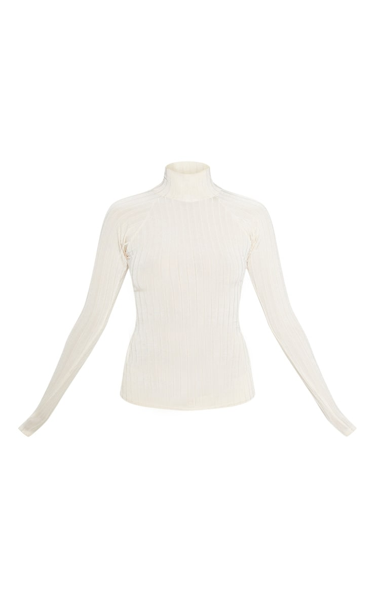 Champagne Slinky Rib High Neck Long Sleeve Top 3
