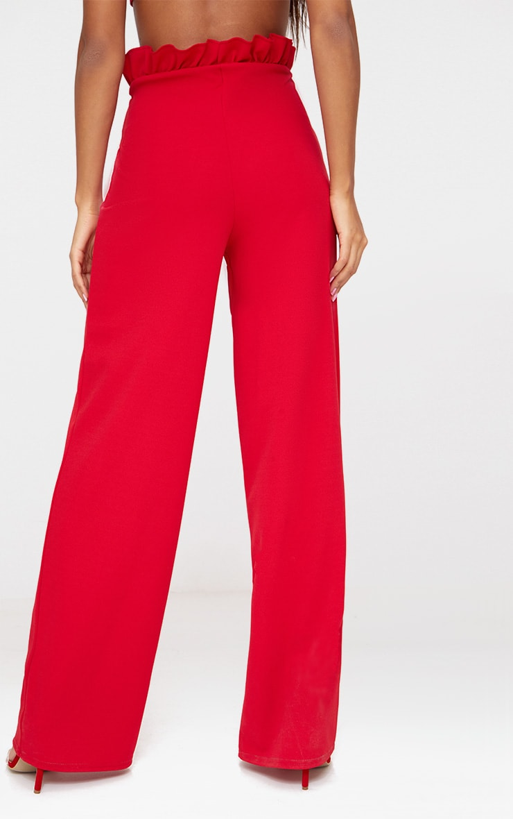 Red Crepe Paperbag Wide Leg Trousers 3