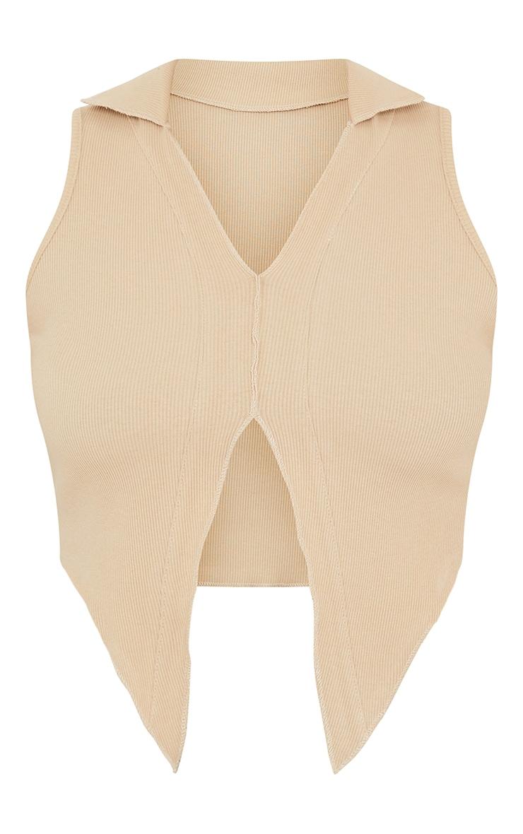 Stone Rib Raw Edge Seam Collar Crop Top 5