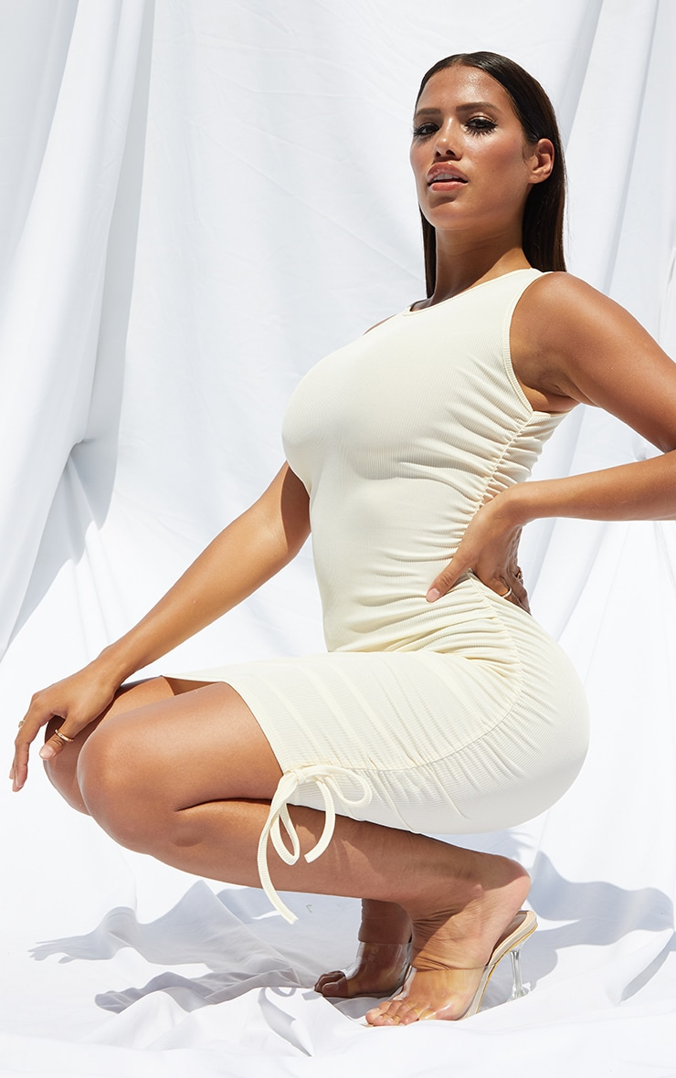 Shape Cream Rib Ruched Side Sleeveless Bodycon Dress 3