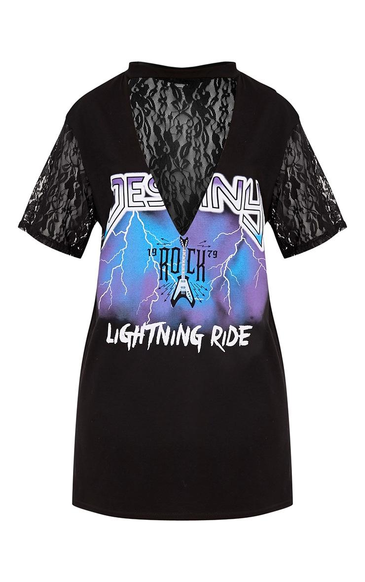 Lightning Slogan Black Lace Detail T Shirt Dress 3