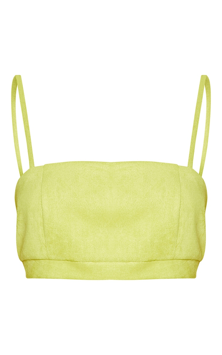 Lime Green Bonded Suede Strappy Crop Top  3